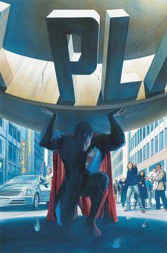 Original painting by Alex Ross from the cover of Superman published by DC Comics, Comic Book Characters, Comic Book Heroes, Comic Character, Comic Books Art, Superman Man Of Steel, Batman And Superman, Superman Family, Superman Artwork, Superman Wallpaper