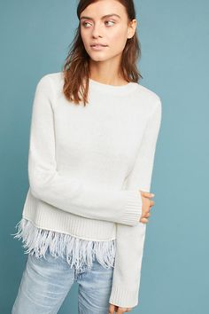 Slide View: 3: Feathered-Hem Pullover