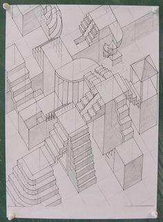 Waghalsige Treppenanlagen als Grundriss-Schrägbild im 8. Jg.
