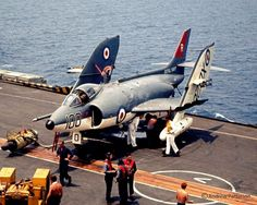 A Supermarine Scimitar F. of 800 Naval Air Squadron aboard HMS Ark Royal. Hms Ark Royal, Royal Navy Aircraft Carriers, Navy Carriers, Military Jets, Military Aircraft, Fighter Aircraft, Fighter Jets, War Jet, Flight Deck