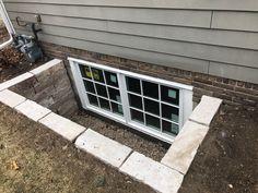 Double Casement Windows, Egress Window, Yard Design, Natural Stones, Basement Waterproofing, Garage Doors, Backyard, Landscape, Minnesota