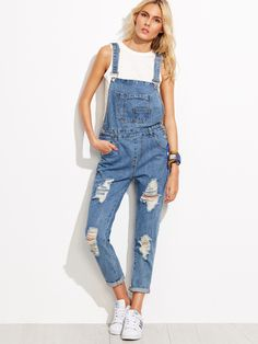 Shop Blue Ripped Cuffed Overall Jeans online. SheIn offers Blue Ripped Cuffed…