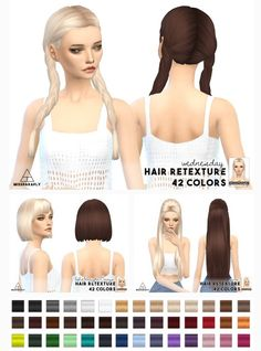 Miss Paraply: Hair retexture - Mixed bag of clay hairs • Sims 4 Downloads