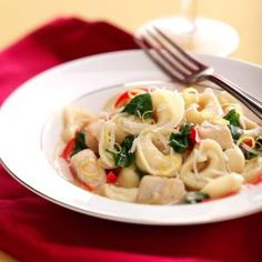 Lemon Chicken Tortellini Recipe -This recipe freezes really well so I toss extra helpings in the freezer for those hectic days that need fast meals.—Lorraine Caland, Thunder Bay, Ontario