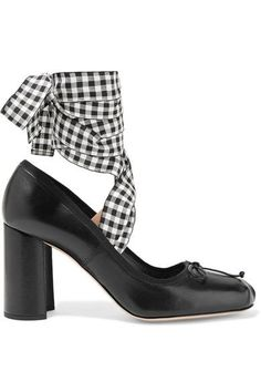 Heel measures approximately 85mm/ 3.5 inches Black leather Ties at ankle Made in Italy