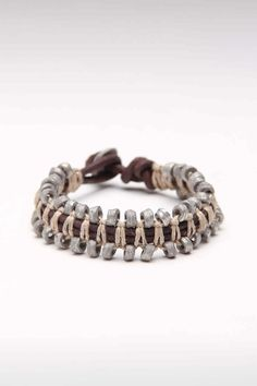 Amigaz Snake Chain Leather Bracelet Click pic for JackThreads