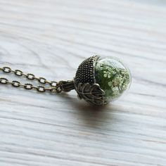 Christmas gift for her  terrarium necklace real moss by flomory