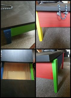 Coffee table I converted into a lego table. I had to put new legs on, sand it, painted it and lined the inside with metal vinyl. My grandson loved it. Lol Max ♥