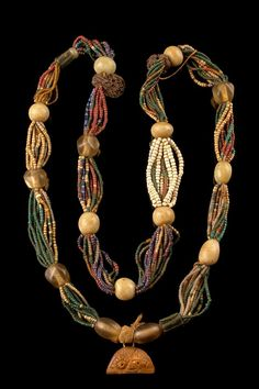 This necklace was made by the Yoruba people of Nigeria.