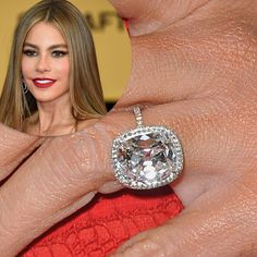 """Sofia Vergara's engagement ring came as a surprise on Christmas Day 2014 from her beau Joe Manganiello. It is said to be 7 carats just like Joe's mother. """"You know with me it's all about the bling-bling, so he knew what I needed. I opened [the ring] up and I checked it to see, and then I was like, 'Yes!.' No I'm joking. He's so handsome that it I would have said OK, anyway."""""""