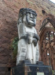 """Epsteins """"Behold the Man"""" placed in Coventry Cathedral in the Coventry Cathedral, Coventry City, Modern Sculpture, Garden Sculpture, Lion Sculpture, Artist Studios, English Roses, 1970s, Places To Visit"""