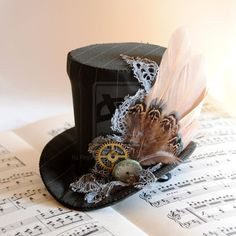 Winter Forest - Steampunk Mini Top Hat by RagDolliesMadhouse.deviantart.com