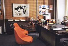 "Don Drapers office. The Desklamp is a ""Fase"" Lamp."
