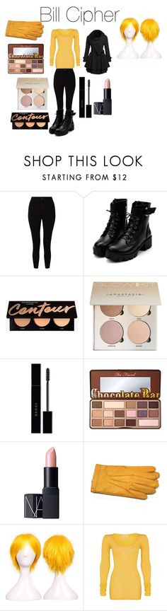 """""""Bill Cipher from Disney's Gravity Falls"""" by tori-camilleri on Polyvore featuring Miss Selfridge, Gucci, Too Faced Cosmetics, NARS Cosmetics, Gloves International and American Vintage"""