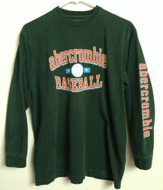 ABERCROMBIE & FITCH BASEBALL LONG SLEEVE SHIRT 2 SIDED #26 SLEEVE LOGO LARGE  #AbercrombieFitch #LongSleeve