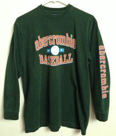 ABERCROMBIE & FITCH BASEBALL LONG SLEEVE SHIRT 2 SIDED #26 SLEEVE LOGO LARGE  #AbercrombieFitch #LongSleeve