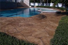 LIKE THIS COLOR This beautiful concrete pool deck has been resurfaced using decorative concrete staining and stamping techniques. Impressions Decorative Concrete, Inc Lutz, FL Painting Concrete, Concrete Staining, Concrete Resurfacing, Decks Around Pools, Pool Decks, Patio Renovation Ideas, Patio Ideas, Decorative Concrete, Stamped Concrete