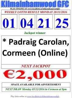 Kilmainhamwood GFC Lotto & News Jackpot Tickets www.ie/kilmainhamwoodgfc Lotto Online, Play Lotto, Jackpot Winners, Play Online, Advertising, News