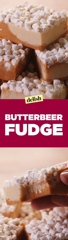 Harry Potter fans, you'll go Snape sh*t over this Butterbeer fudge.Harry Potter fans, you'll go Snape sh*t over this Butterbeer fudge. Fudge Recipes, Candy Recipes, Sweet Recipes, Dessert Recipes, Just Desserts, Delicious Desserts, Yummy Food, Yummy Treats, Sweet Treats