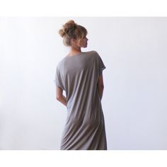 T-shirt taupe midi length dress