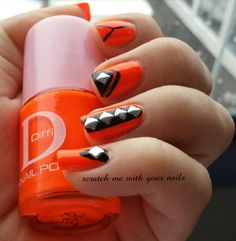 Orange cool nails
