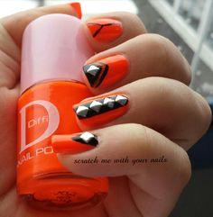 Orange cool nails