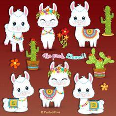 Alpacas, Llama Clipart, Llama Face, Llama Birthday, Birthday Clipart, Winter Illustration, Llama Alpaca, Cute Chibi, Stationery Design
