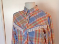 Women's WRANGLER western shirt by sixcatsfunVINTAGE, #wrangler #plaid #shirt #etsy #vintage