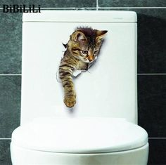 Cheap home decor, Buy Quality cat wall stickers directly from China stickers bathroom Suppliers: Hole View Cats Wall Sticker Bathroom Living Room Home Decor for Animal Vinyl Decals Art Poster cute Toilet Stickers Decoration Stickers, Wall Decor Stickers, Vinyl Decals, Wall Decals, Cat Stickers, Stickers Online, Wall Vinyl, Vinyl Art, Decorations