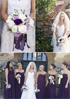 Dark purple bridesmaid dresses. Love the color.