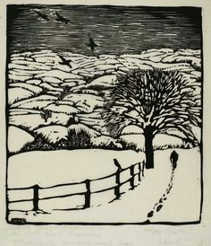 """Wharton H. Esherick """"Trudging through the Snow"""" 1922"""