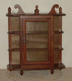 Vtg Small Wood + Glass Curio Cabinet Wall Mount Hang Table Top Display Shelves