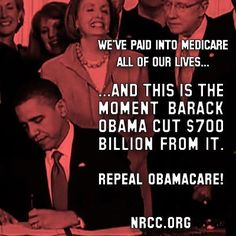 FACT: ObamaCare is the only law that cuts Medicare for current retirees. Let your friends know by sharing this.