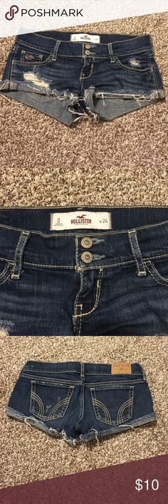 Hollister shorts Barely worn! Like new, all the stitching was bought like that! Hollister Shorts Jean Shorts