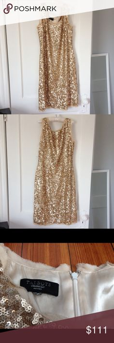 """Talbots gold sequin dress. Size 6P? Talbots gold sequin party dress. Size 6P? Tag is cut out. This beautiful dress is elegant. It makes me feel luck a glass of Champagne. It was a sample and is marked inside. It also has water damage to the inside lining. There are also some makeup marks on the lining. It is fully lined and comfortable to wear, approx 36"""" long. Approx 17.5"""" across  the bust waist approx 16"""". Hips approx 18"""" Talbots Dresses"""