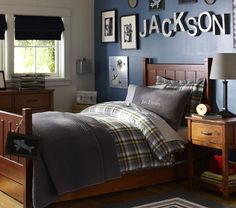 Kingston Quilted Bedding | Pottery Barn Kids - love the solid quilt and the letters on the wall