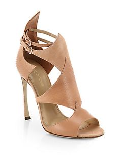 Sergio Rossi Patricia Leather, Watersnake and Suede Sandals