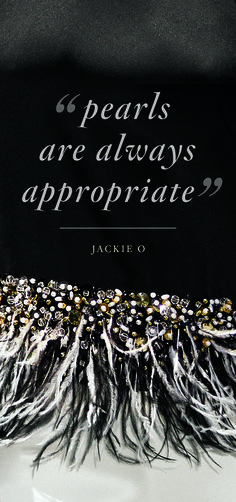 """Pearls are always appropriate"" - Jackie O. Especially where you least expect them #StJohnKnits"