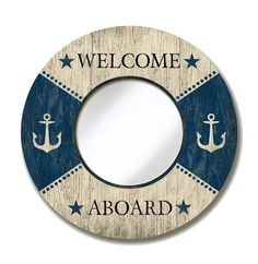 How adorable is this fun blue and white lifering mirror? Complete with Anchor details and can be personalized!