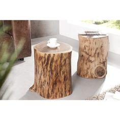 Moderne bijzettafel/Hocker boomstam pure 45cm acacia - 35900