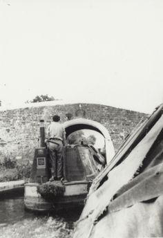 Narrowboat 'Hesperus' on the Trent and Mersey Canal [The boat was later 'Chad' and 'New Hope', owned by Lord Lucan and Sir J Knill]. Date August 1958 Canal Barge, Canal Boat, Birmingham Canal, Steam Boats, Living On A Boat, Brick Arch, Arch Bridge, Old Boats, Narrowboat