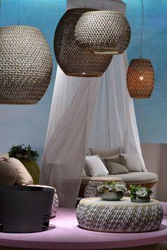 Ralph lauren home Spa Lighting, Cool Lighting, Lounge Furniture, Furniture Design, Outdoor Furniture, Rattan, Pool Chairs, Hanging Light Fixtures, Interior Decorating