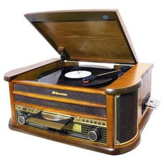 Roadstar Vintage Home AM/FM Wooden Radio With Turntable, MP3 CD Player & Cassette