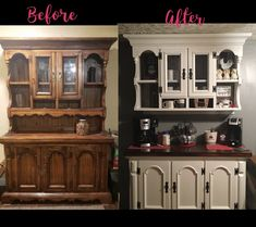 My take on repurposing an old hutch into my new coffee bar  So in love with it