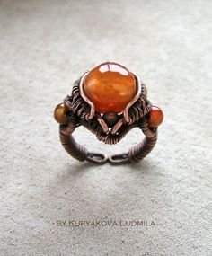 Ring handwork copper, agate not for sale