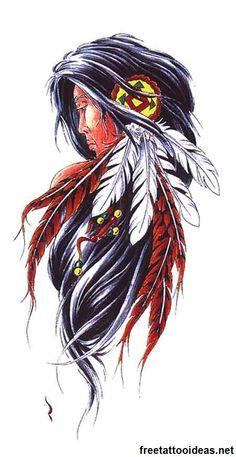 Native American ink - http://www.freetattooideas.net/category/native-american-tattoos/
