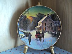 Avon Christmas Collectible Plate Home for the Holidays 1988 Fine Porcelain Plate Colorful and Snowy Winter Scene with Gold Trim by CapeCats on Etsy