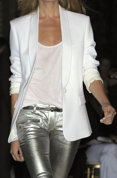 love the silver pants and white mix  Balmain