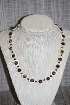 Beautiful Mother of Pearl and Tigers Eye Chunky Beaded Necklace