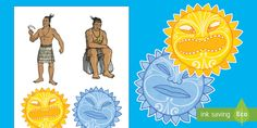 These Maui and the Sun stick puppets are a great art activity & are easy to make. Each has a beautiful illustration. Sun Art, Art Activities, Puppets, Legends, Princess Zelda, Illustration, Fictional Characters, Maori, Illustrations